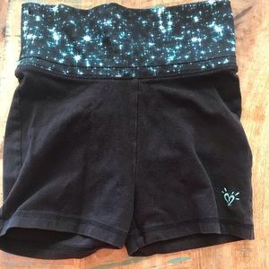 Justice Black & Turquoise Dance / Gym Shorts